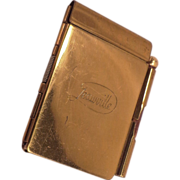 SOLD Vintage Gold Tone Metal Note Book and Pencil by Deauville
