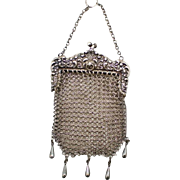 SALE Vintage  Antique  Sterling Silver Mesh Purse Marked W&D