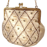 Vintage Early 1900s Satin, Beaded and Rhinestone  Purse