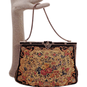 SOLD Vintage Floral Petit Point Purse With Marcasite and Black Onyx Frame
