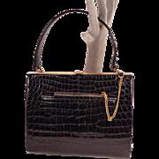 SALE Vintage Crocodile Black Leather Purse by bienen-davis
