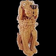 SALE Vintage Rare  Miniature Dog Straw Animal  Purse