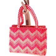Vintage Pink and White Plastic Beaded Handbag Purse by Barbara Lee