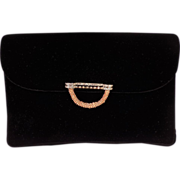 Vintage Mint Black Velvet Evening Jewel Clasp Clutch Purse by Magid