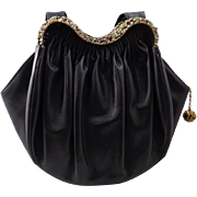 Vintage Black Leather With Rhinestones by Guild Creations Purse