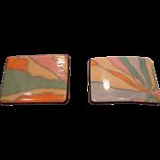 SALE Vintage French Pastel Enamel Shoe Clips