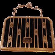SALE Vintage Gold and Black Vanity Case