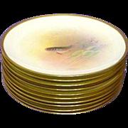 10 Antique Mintons or Minton Handpainted Artist Signed Fish Plates