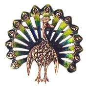 SALE Caviness Designed Enamel on Sterling Silver and Marcasite Peacock Pin