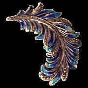 SALE German Enamel on Sterling Feather Plume Pin w/Marcasites
