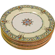 SALE 10 Royal Worcester Chantilly Large Dinner Plates with Raised Enamel