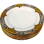 6 Gold Encrusted Rosenthal Plates 10 1/8""