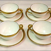 4 Royal Bayreuth White and Gold Double Handled Boullions