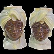 Royal Copley Blackamoor Wallpockets - Man and Woman