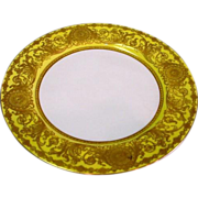 Antique Royal Worcester Raised Gold on Yellow Border Plate