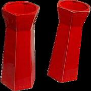 SALE Pair of USA Mandarin Red Vases w/Greek Key Motif