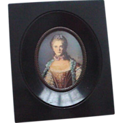Handpainted Framed Miniature Portrait Signed