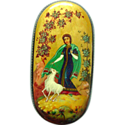 "Kholui Handpainted Legend Box Russian Lacquer Papier Mache ""Alyonushka and her Brother Iv"
