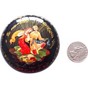 SOLD Round Handpainted Legend Box Papier Mache Russian Kholui