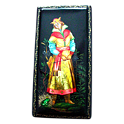 SALE Handpainted Russian Lacquer Legend Box Frog Prince Ivan Fedoskino Large Size Papier Mache