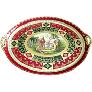 Very Large Royal Vienna Tray with Raised Gold Decorations and Allegorical Scene