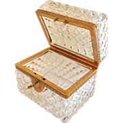 SALE Antique French Diamond Cut Crystal Casket or Jewelry Box