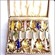 Sterling Silver Gold Washed Denmark Enamel Demitasse Spoons - Boxed Set of 6 by Frigast