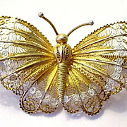 SALE Huge Filigree and Enamel Gilded Butterfly Pin Italian 800 Silver