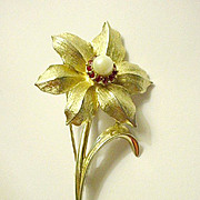 Marcel Boucher Narcissus Pin Brooch with Faux Pearl and Rubies