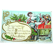 SOLD Very Fine 1906 Blue Robed Santa in Motor Card Christmas Postcard - Red Tag Sale Item