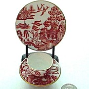 Rare Coalport RED Willow Miniature Cup, Saucer, and Plate (trio)