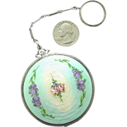 Ca. 1930 Enamel on Guilloche Sterling Silver Compact by Ripley & Gowan - Complete and Fabulous