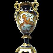 SALE Art Nouveau French Sevres Portrait Mercury Vase with Bronze Mounts Raised Gold Decoration