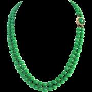Vintage Double Strand Jade-like  Glass Beads