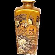 Amazing Meiji Antique Miniature Satsuma Vase with Moriage Dragon and Immortals