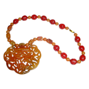 SALE Very Large Chinese Jade Carved Lock Ruyi Form Pendant Necklace in Shades of Russet ...