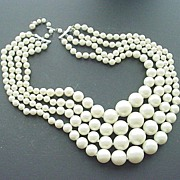 Fabulous Large Faux Pearl 4-Strand Necklace