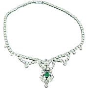 SALE Faux Diamond Rhinestone and Emerald Rhinestone Festoon Necklace