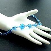 Vintage Brilliant Faceted Blue Crystal Necklace