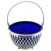 Antique Whiting Sterling Silver Basket with Cobalt Blue Liner