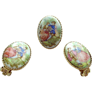 3 Piece Pin and Earring Set - Costume - Limoges Style