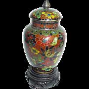 SALE Vintage Miniature Chinese Cloisonne Covered Vase or Urn