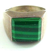 SALE Sterling Silver Mexico Heavy Ring with Malachite Sz 10 1/2 - Gents