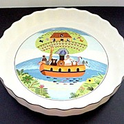 "REDUCED Villeroy & Boch  9 1/2"" Quiche Dish Naif Pattern of Noah's Ark ..."