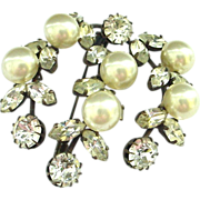 SALE Very Early Costume Pin Brooch Large Faux Pearls and Rhinestones