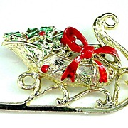 Christmas Pin - Pinecones in Sled - Enamelled