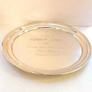 "PRICE SLASHED!! 12"" Sterling Silver B'nai B'rith Presentation Salver Charger  by Alvin -"