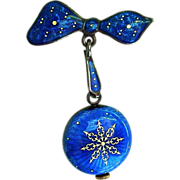 SALE Cobalt Enamel on Sterling Swiss Watch with Matching Bow Pin by Nadine