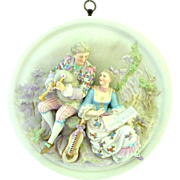 Extraordinary 3 Dimensional Porcelain Musical Lovers Plaque - German - Bagpiper and Stringed I