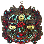 Spectacular Large Buddhist Mask - Dharmapala Turquoise and Coral Encrusted on Copper